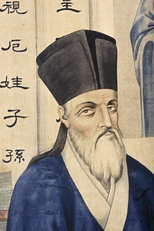 A detail from an illustration of Jesuit Father Matteo Ricci is seen at the Beijing Center for Chinese Studies in this 2007 file photo. The sainthood cause of the 17th-century missionary to China has moved to the Vatican after the diocesan phase of the sainthood process closed May 10. Father Ricci was born in Macerata, Italy, in 1552 and died in Beijing May 11, 1610. (CNS photo/Nancy Wiechec) (May 13, 2013) See RICCI-CAUSE May 13, 2013.