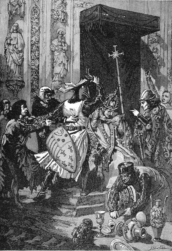 "19th-century illustration, ""Boniface Struck by Colonna,"" drawn by Vierge. In an incident that is probably popular lore rather than factual, Sciarra Colonna slaps Pope Boniface VIII. in 1303 during a conflict over the extent of papal authority."